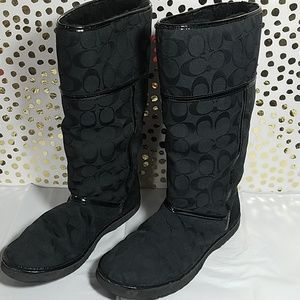 Coach Signature Print Nikole Black Boots